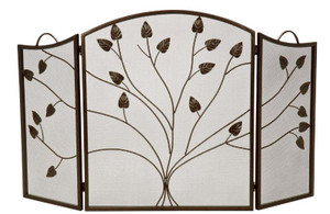 Dagan DG-S509 Three Fold Bronze Arched Fireplace Screen, 52x31-Inches