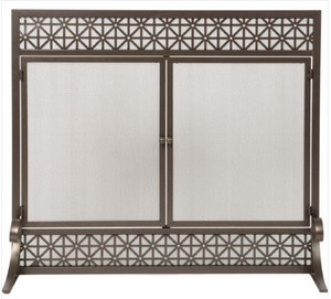 Dagan DG-AHS540 Fireplace Screen with Doors with Filigree Design, 39x34-Inches