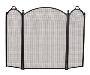 Dagan DG-1383-40 Three Fold Black Arched Fireplace Screen, 52x40-Inches