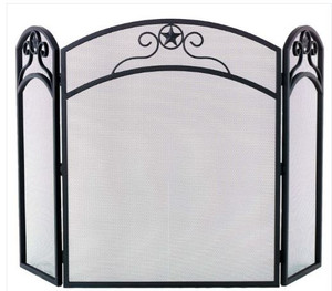 Dagan DG-S165 Three Fold Wrought Iron Arched Fireplace Screen with Star Design, 32-Inches