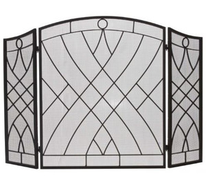 Dagan DG-AHS116 Three Fold Black Wrought Iron Arched Fireplace Screen, 51.5x34-Inches