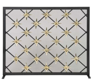 Dagan DG-AHS405 Fireplace Screen with Star Design, 39x31-Inches