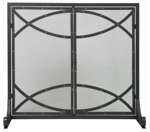 Dagan DG-AHS185 Fireplace Screen with Doors with Silver Rivet Design, 39x34-Inches