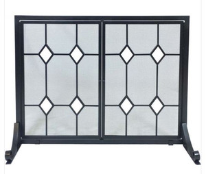 Dagan DG-S149 Wrought Iron Fireplace Screen with Doors with Glass Diamond Design, 44x33.25-Inches