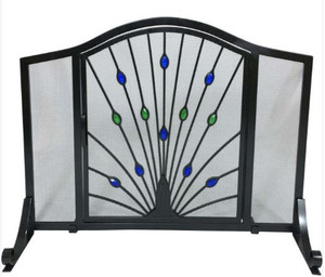 Dagan DG-S162 Wrought Iron Arched Fireplace Screen with Door with Peacock Design, 44x33-Inches