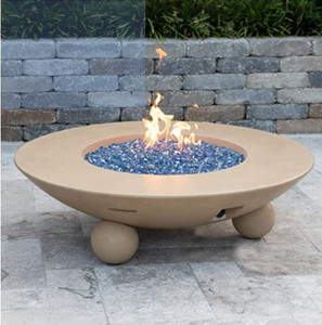 American Fyre Designs Versailles 54-Inch Natural Gas Firetable With Ball Feet - Cafe Blanco