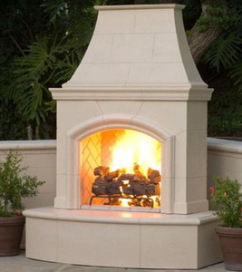 American Fyre Designs Phoenix 63-Inch Outdoor Natural Gas Vent-Free Fireplace - Cafe Blanco