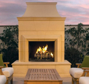 American Fyre Designs Cordova 74-Inch Outdoor Natural Gas Vent-Free Fireplace - Cafe Blanco