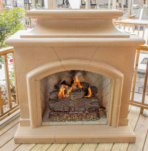 American Fyre Designs Phoenix 63-Inch Outdoor Natural Gas Fireplace - Cafe Blanco