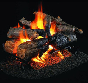 Peterson Real Fyre 24-Inch Charred American Oak See-Thru Gas Log Set With Vented Natural Gas G45 Burner - Match Light