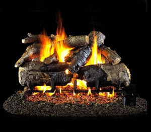 Peterson Real Fyre 30-Inch Charred American Oak Gas Log Set With Vented Natural Gas G4 Burner - Match Light