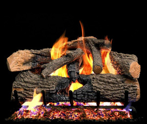 Peterson Real Fyre 24-Inch Charred Evergreen Oak Gas Log Set With Vented Natural Gas G52 Burner - Match Light