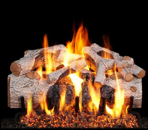 Peterson Real Fyre 24-Inch Charred Mountain Birch Gas Log Set With Vented Natural Gas G4 Burner - Match Light