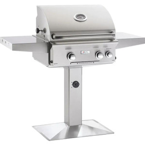 American Outdoor Grill L-Series 24-Inch 2-Burner Natural Gas Grill On Pedestal With Rotisserie - 24NPL