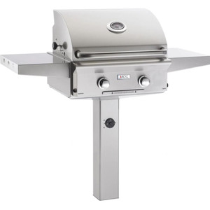 American Outdoor Grill L-Series 24-Inch 2-Burner Natural Gas Grill On In-Ground Post - 24NGL-00SP