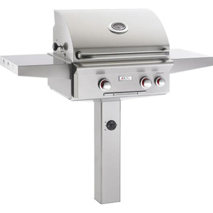 American Outdoor Grill T-Series 24-Inch 2-Burner Natural Gas Grill On In-Ground Post With Rotisserie - 24NGT