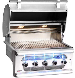 American Muscle Grill 36-Inch 5-Burner Built-In Dual Fuel Wood / Charcoal / Natural Gas Grill - AMG36-NG