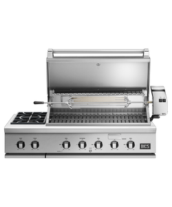 DCS Series 7 Traditional 48-Inch Propane Gas Grill With Double Side Burner & Rotisserie On DCS CAD Cart - BH1-48RS-L