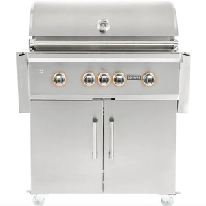 Coyote S-Series 36-Inch 4-Burner Propane Gas Grill With RapidSear Infrared Burner & Rotisserie - C2SL36LP + C1S36CT