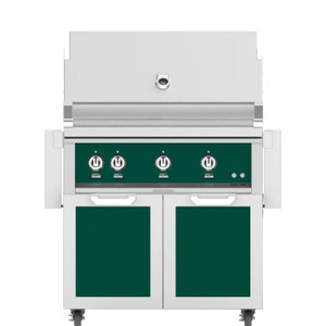 Hestan 36-Inch Natural Gas Grill W/ Rotisserie On Double Door Tower Cart - Grove - GABR36-NG-GR