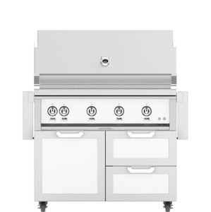 Hestan 42-Inch Natural Gas Grill W/ Rotisserie On Double Drawer & Door Tower Cart - Froth - GABR42-NG-WH