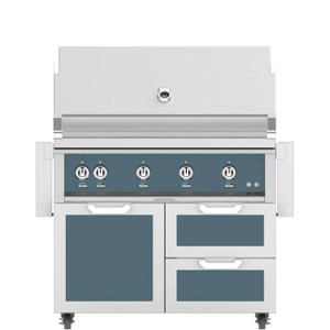 Hestan 42-Inch Propane Gas Grill W/ Rotisserie On Double Drawer & Door Tower Cart - Pacific Fog - GABR42-LP-GG