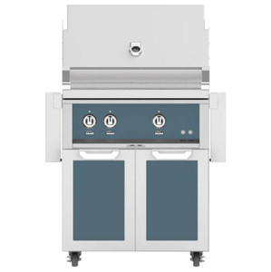 Hestan 30-Inch Propane Gas Grill W/ Rotisserie On Double Door Tower Cart - Pacific Fog - GABR30-LP-GG