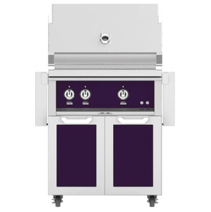 Hestan 30-Inch Natural Gas Grill W/ Rotisserie On Double Door Tower Cart - Lush - GABR30-NG-PP