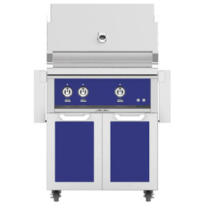Hestan 30-Inch Propane Gas Grill W/ All Infrared Burners & Rotisserie On Double Door Tower Cart - Prince - GSBR30-LP-BU