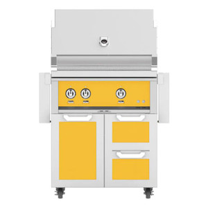 Hestan 30-Inch Propane Gas Grill W/ All Infrared Burners & Rotisserie On Double Drawer & Door Tower Cart - Sol - GSBR30-LP-YW
