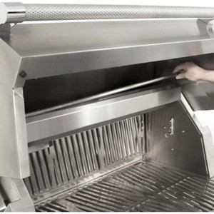 Hestan 30-Inch Natural Gas Grill W/ All Infrared Burners & Rotisserie On Double Drawer & Door Tower Cart - Froth - GSBR30-NG-WH