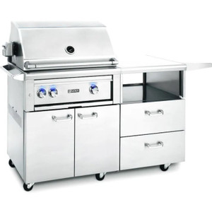 Lynx Professional 30-Inch All Infrared Trident Propane Gas Grill With Rotisserie On Mobile Kitchen Cart - L30ATR-M-LP