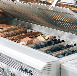 American Muscle Grill 54-Inch 8-Burner Built-In Dual Fuel Wood / Charcoal / Propane Grill - AMG54-LP