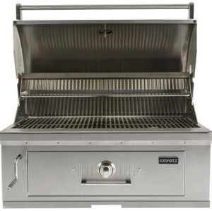 Coyote 36-Inch Built-In Stainless Steel Charcoal Grill - C1CH36