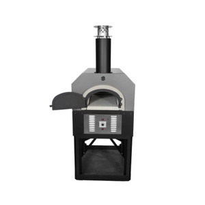 Chicago Brick Oven CBO-750 Hybrid Residential Outdoor Pizza Oven On Stand - Natural Gas - Silver - CBO-O-STD-750-HYB-NG-SV-R-3K