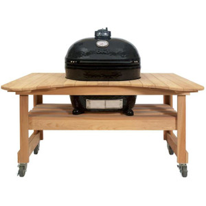 Primo Oval XL 400 Ceramic Kamado Grill On Curved Cypress Table With Stainless Steel Grates - 778