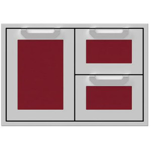 Hestan 30-Inch Double Drawer And Single Storage Door Combo - Tin Roof - AGSDR30-BG