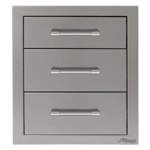 Alfresco 17-Inch Stainless Steel Soft-Close Triple Drawer - AXE-3DR-SC
