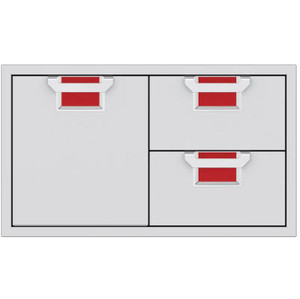 Aspire By Hestan 36-Inch Double Drawer And Single Storage Door Combo - Matador - AESDR36-RD