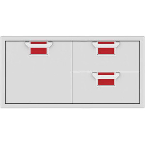 Aspire By Hestan 42-Inch Double Drawer And Single Storage Door Combo - Matador - AESDR42-RD