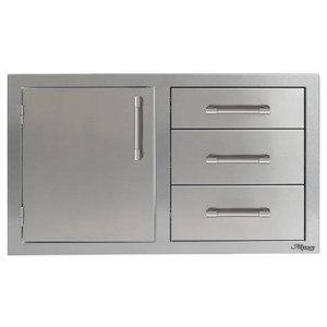 Alfresco 32-Inch Stainless Steel Left-Hinged Soft-Close Door & Triple Drawer Combo - AXE-DDC-L-SC