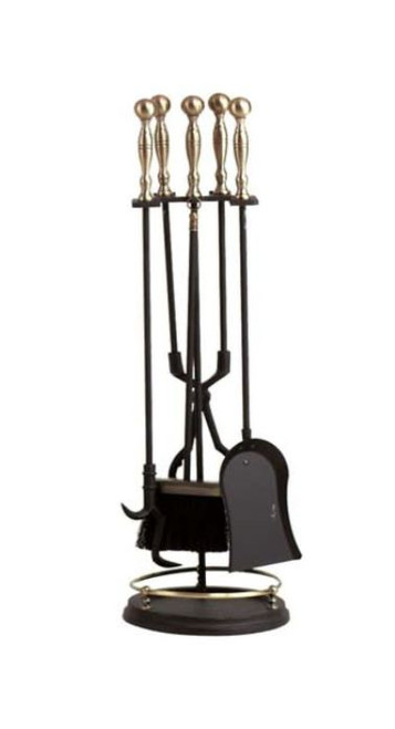 Dagan DG-5456 Five Piece Fireplace Tool Set, Antique Brass and Black