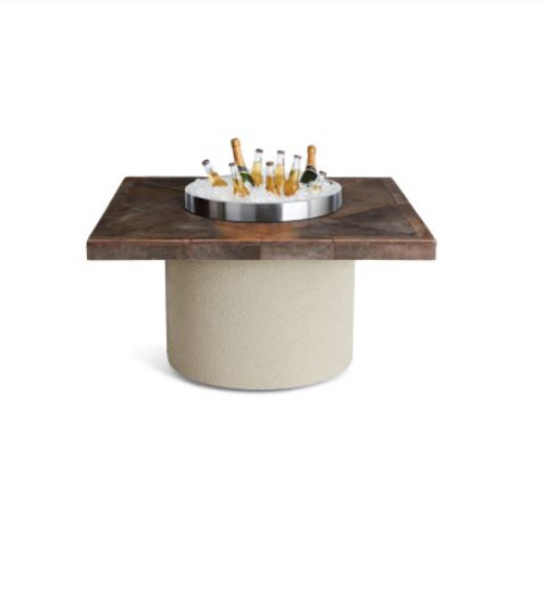 """44"""" Square Ice N Fire Pit, Contemporary Gray"""
