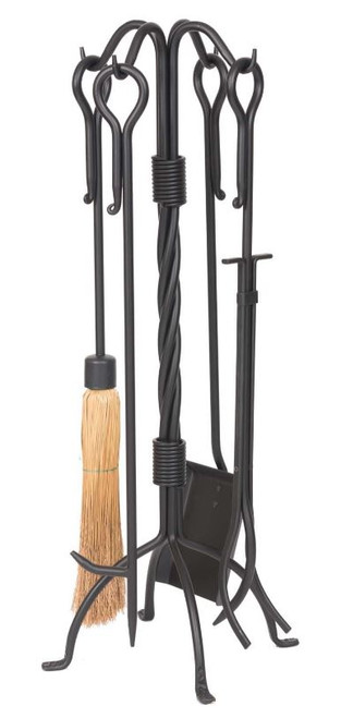 Dagan DG-5822 Five Piece Wrought Iron Fireplace Tool Set, Black