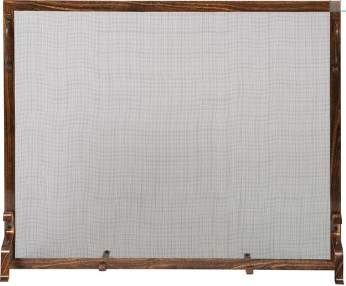 Dagan DG-S129WD Wrought Iron Fireplace Screen with Wood Design, 39x31-Inches