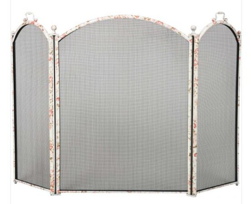 Dagan DG-1383-34FL Three Fold Floral Arched Fireplace Screen, 52x34-Inches