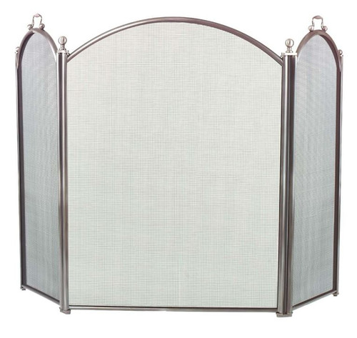 Dagan DG-7383-29 Three Fold Pewter Arched Fireplace Screen, 52x29-Inches