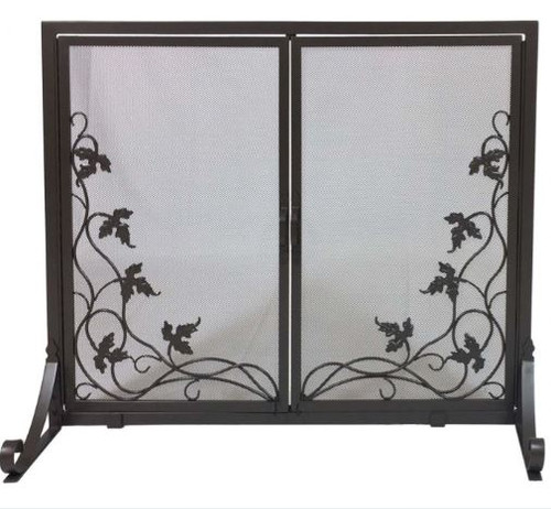Dagan DG-S522 Fireplace Screen with Doors with Vine Design, 38x31-Inches