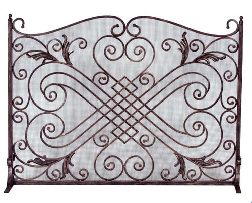 Dagan DG-AHS505 Copper and Black Arched Fireplace Screen, 44x33-Inches