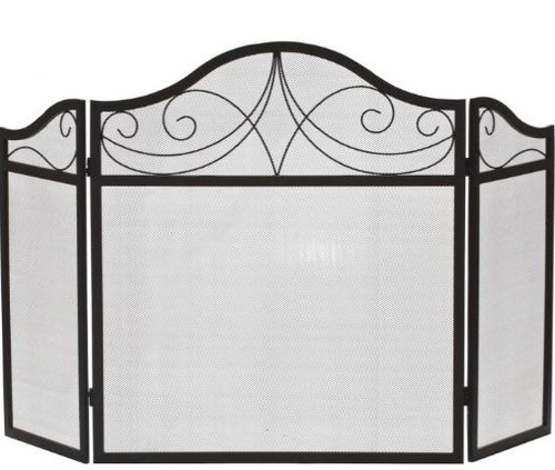 Dagan DG-S122 Three Fold Black Wrought Iron Arched Fireplace Screen, 52x30-Inches